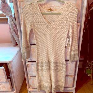 Rachel Roy XS NWT ivory & gold crochet dress